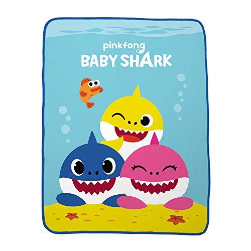 "41JU9wY24wL - Franco Kids Bedding Super Soft Plush Throw, 46"" x 60"", Baby Shark"