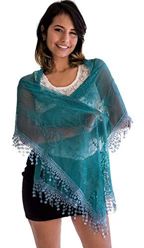 Scarf Aqua - Women's lightweight Feminine lace teardrop fringe Lace Scarf Vintage Scarf Mesh Crochet Tassel Cotton Scarf for Women,One Size,Aquamarine