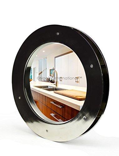 (Deep Flange Nickel Premium Aluminum Premium Nautical Porthole Window with A Transparent Glass | Kitchen Home Decor Porthole Window | Nagina International (Nickel, 12 Inches))