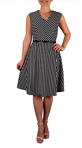 Buy black and white striped long sleeved bodycon dress - 1