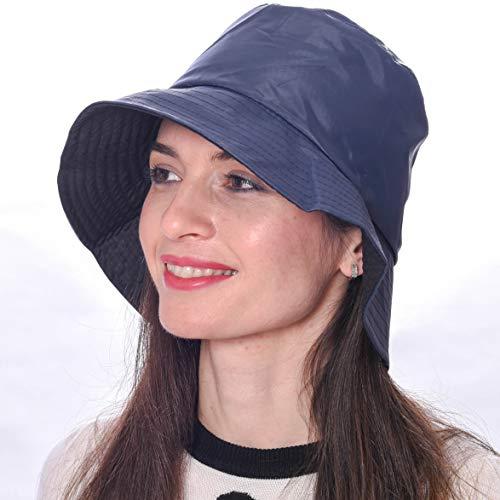 Debra Weitzner Rain Hat 2-in-1 Reversible Bucket Rain Hat Packable (Large, Navy Blue-Style B) ()