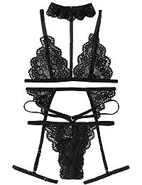 efda78ac50187 Women s Lace Babydoll Sexy Bridal Lingerie Strappy Lingerie Bra Panty Set