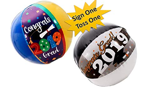 Grads Decor - Graduation Party - Beach Balls - (Two Pack) Inflatable Class of 2019 Beach Ball Keepsakes to Autograph or Toss - Graduation Decorations]()