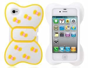 Bowknot Funda de Silicona para iPhone 4 / 4S (Amarillo)