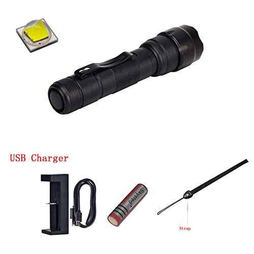 Skysted S9 Zoomable Single Mode Tactical Flashlight,1000 Lumens Original CREE XM-L2 U2 U3 LED,Water Resistant,with Clip & Strap,with 3000mAh 18650 Battery and USB Charger,Best Camping