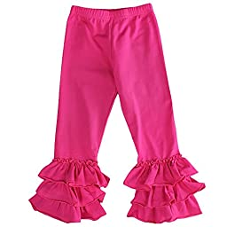 Maggy May Toddler Girls Ruffle Leggings - Hot Pink - 3T