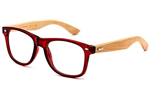 Newbee Fashion - Real Bamboo Temples Clear Frames Glasses Men Women Wooden Frames …Newbee Fashion - Real Bamboo Temples Clear Frames Glasses Men Women Wooden - Red Prescription Frames Glasses
