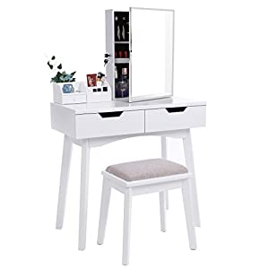 BEWISHOME Vanity Set with Mirror, Jewelry Cabinet / Jewelry Armoire, Makeup Organizer, Cushioned Stool, 2 Sliding Drawers White Makeup Vanity Desk Dressing Table FST04W