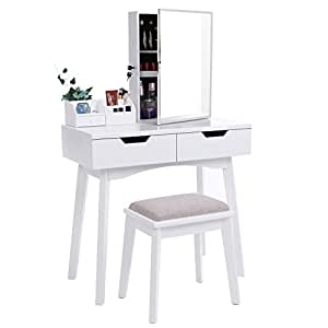 Amazon.com: BEWISHOME Vanity Set White Makeup Table ...