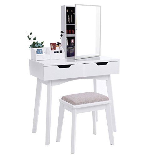BEWISHOME Vanity Set with Mirror, Jewelry Cabinet / Jewelry Armoire, Makeup Organizer, Cushioned Stool, 2 Sliding Drawers White Makeup Vanity Desk Dressing Table (Mirrored Set Bench)