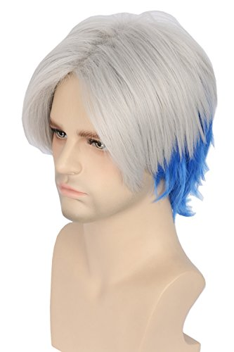 Price comparison product image Topcosplay Men's Hair Wigs Parzival Short Cosplay Wig GreyBlue Two Tone