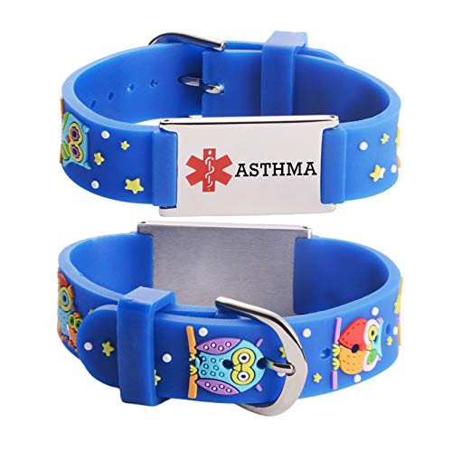linnalove Cartoon Children Asthma Medical Alert Bracelet for boy & Girls(owl)