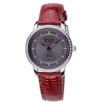 Epoch 6023L Wasserdicht 50 M Tritium Gas Pink leuchtendes Lederband weiß Zifferblatt Jewel LÜnette Vogue Business