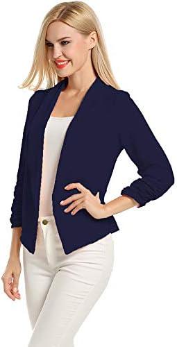 Lalala Damen Bolero Jacke Slim Fit Business Mantel Blazer (Navy blau,XXL)