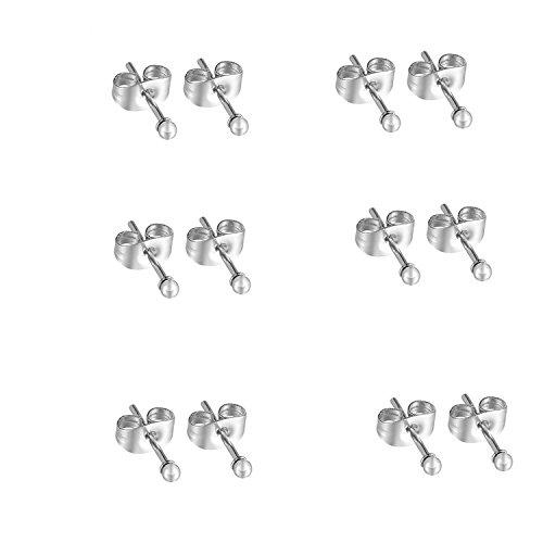 - Sterling Silver Stud Earrings Round Ball Earrings for Men Women 2MM(SILVER A / 6 Pairs)