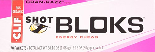 Clif Shot Bloks, Cran-Razz, 2.1 oz, Pack of 18.