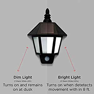 LampLust Solar Rechargeable Security Sconce Wall Lights with High Tech Motion Detection, Black Exterior, Warm White LEDs - Set of 2