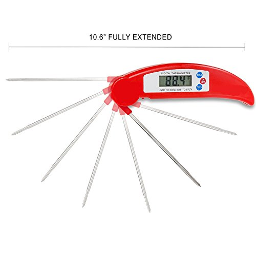 YILA Ultra Fast Digital Instant Read Meat Thermometer | Folding, Stainless Steel Probe for Grilling & Oven from YILA