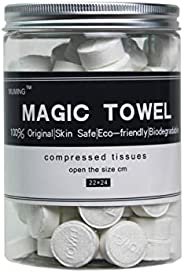 Canned 100 PCS Compressed Towels Portable Mini Compressed Coin Tissue for Travel Sports, Beauty Salon or Home