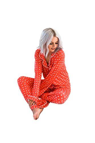 JaceyLane - Pajamas - Red with White Polka Dots - -