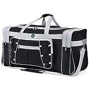 Travel Duffel Bag65LFoldable Weekender Overnight Bag26″ Lightweight Oxford Cloth Large Gym Luggage DuffelWater-proof & Tear Resistantfor Men & Women (Black White)