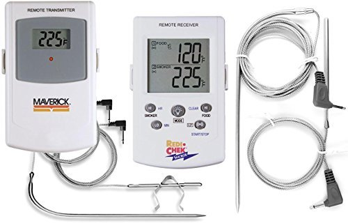 - Maverick ET73 Digital Wireless Remote BBQ Meat Thermometer - Monitors Meat & Barbecue/Grill/Smoker Temperature - Includes 1 extra 6-Foot Meat Probe AND 1 extra 3-Foot Temperature Replacement Probe