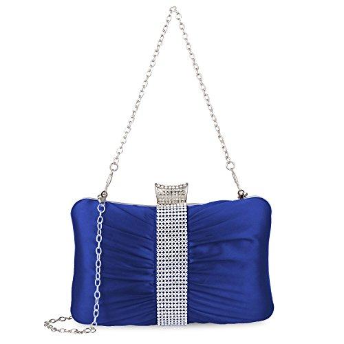 Satin Party Rhinestones Blue Hard Clutch Clutch Purse Case Pleated Wedding Bag Women For Evening Kaever Purses qWvUdwFF