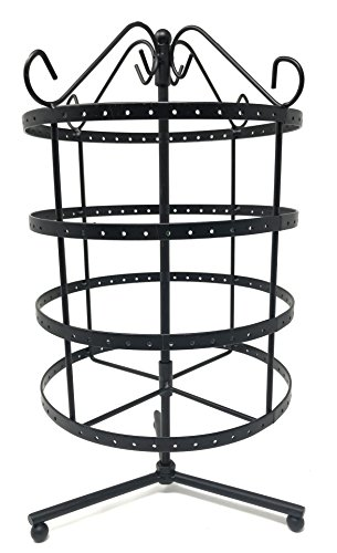 (4 Tiers Black Rotating 92 Pairs Earring Holder ~Necklace Organizer Stand ~ Jewelry Stand Display Rack Towers)