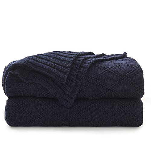 100% Cotton Navy Blue Cable Knit Throw Blanket with Bonus Laundering Bag - Large 50 x 60