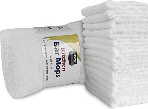 Utopia Towels Kitchen Bar Mop Cleaning Towels (12 Pack, 16 x 19 Inch) - Pure Cotton White Kitchen Towels - Professional Grade - Bar Mop Towels 16x19