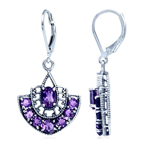 (2.44ct. Natural February Birthstone African Amethyst 925 Sterling Silver Filigree Earrings)