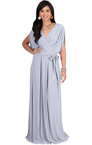 3008b62876 KOH KOH Plus Size Womens Long Formal Short Sleeve Cocktail Flowy V-Neck  Casual Bridesmaid Wedding Party Guest Evening Cute Maternity Work Gown  Gowns Maxi ...