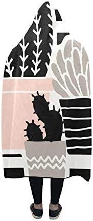 Rtosd Couverture à Capuchon dessiné à la Main des Plantes succulentes Couverture Gris Noir 60x50 Pouces Wrap à Capuche Comfotable