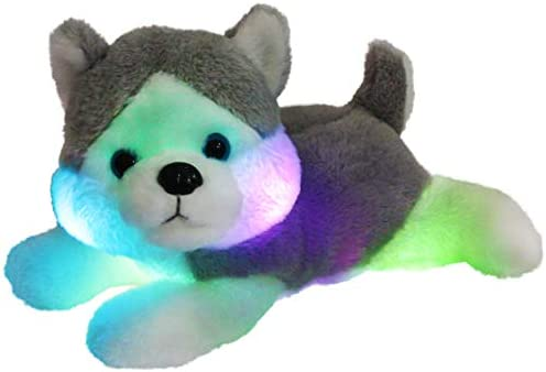 Houswbaby LED Plush Husky Glowing Stuffed Dog Soft Night Light Puppy Toy Hugging Pillow Companion Pet Birthday Gift for Kids Boys Girls Toddlers 13 Gray