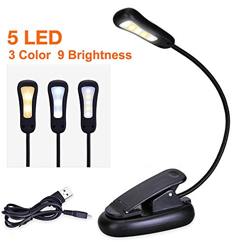 Rechargeable Book Light, Clip on Book Lamp [Upgraded] 3 Colors x3 Levels Eye Care Reading Lights, Up to 60 Hours Reading, Lightweight, Ideal for Bookworms, Kids (Warm & White, 9 Levels)