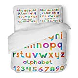 Emvency Bedding Duvet Cover Set Full/Queen (1 Duvet Cover + 2 Pillowcase) Color Colorful and Numbers Alphabet Letter ABC Back School Education Graphic Hotel Quality Wrinkle and Stain Resistant
