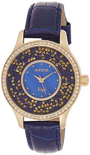 Invicta Women's Angel Stainless Steel Quartz Watch with Leather Calfskin Strap, Blue, 18 (Model: 24590)