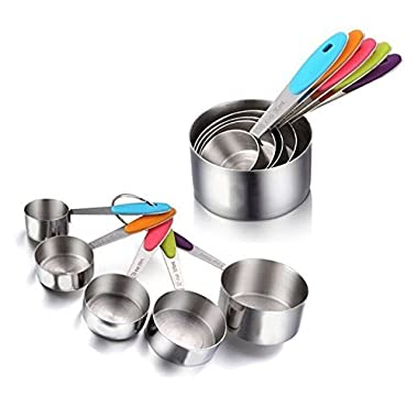 5 PCS Ipow Solid Sturdy Stainless Steel Stackable Measuring Cups Set to Measure Dry and Liquid Ingredients with Soft Handles,for Kitchen Cooking Baking