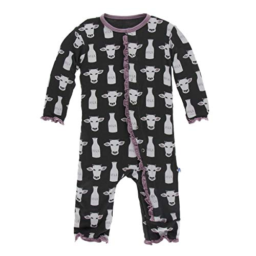 Kickee Pants Little Girls Print Layette Classic Ruffle Coverall with Snaps - Zebra Tuscan Cow, 3-6 Months ()