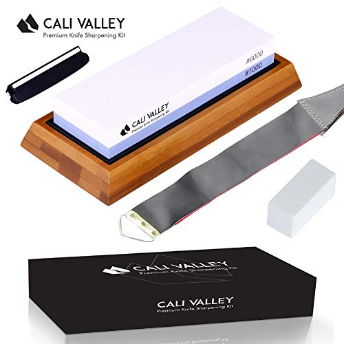 - Cali Valley Knife Sharpening Stone - Premium Professional 1000/6000 Grit Whetstone/Waterstone Kit with Guide and Leather Sharpener Strop - Portable Wetstone for Kitchen, Pocket, Hunting, Chef Knives