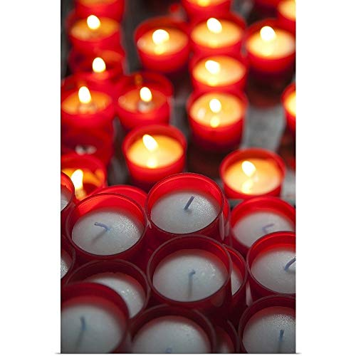 GREATBIGCANVAS Poster Print Entitled Votive Candles in a Cathedral, Como Cathedral, Como, Lakes Region, Lombardy, Italy by 12