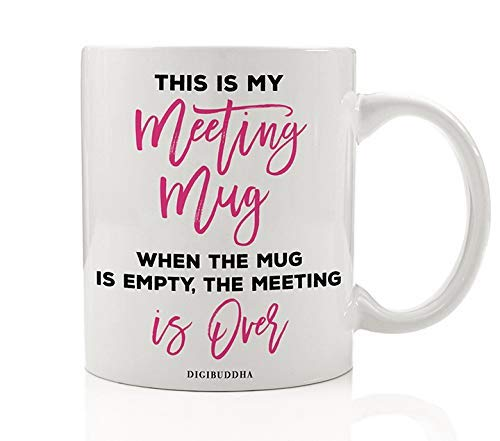 pink empty mug meeting over gift idea for office female boss manager workplace management company hr