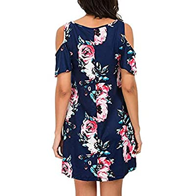 QIXING Women's Summer Cold Shoulder Tunic Top Swing T-Shirt Loose Dress with Pockets at Women's Clothing store