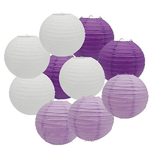 Set of 9 White Deep Purple Lavender Paper Lantern Lamp Shades for Wedding Marquee Christening Baby Shower Hen Party Decoration