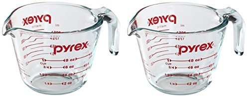 Pyrex Prepware 1 Cup Measuring Cup with Red Graphics (Pack of 2) (Glass Cup Cup Measuring 1)