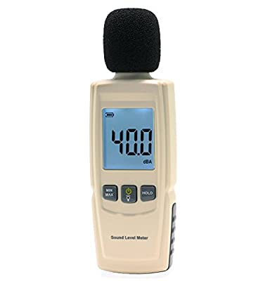 LotFancy Decibel Meter Reader/ Digital Sound Level Tester, Measurement Range 30dBA -130dBA, Accuracy within +/-1.5dBA, Max/Min Hold Function, Large Backlit LCD Display, Batteries Included