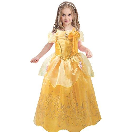 JiaDuo Baby Girlsu0027 Princess Belle Costume Party Cosplay Dress up 5 Yellow  sc 1 st  Amazon.com & Disney Belle Costume: Amazon.com