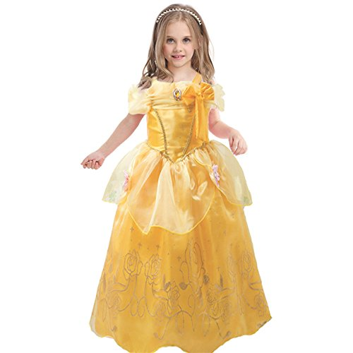 [JiaDuo Baby Girls' Princess Costume Party Cosplay Dress Up 4 Yellow] (Toddler And Girls Aurora Princess Costumes)