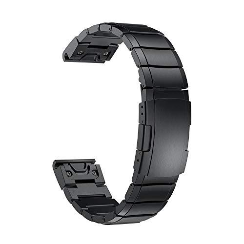 Fenix 5X Plus/Fenix 6X Armband,YOOSIDE QuickFit Metall Echtleder Ersatz Armband Sicherheitsschnalle Gliederarmband Uhrenarmband für Garmin Fenix 5X/Fenix 5X Plus/Fenix 3/Quatix 3/ D2 Delta PX/,Schwarz