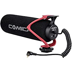 Comica CVM-V30 LITE Video Microphone Super-Cardioid Condenser On-Camera Shotgun Microphone for Canon Nikon Sony Panasonic Camera/DSLR/iPhone Samsung Huawei with 3.5mm Jack(Red)